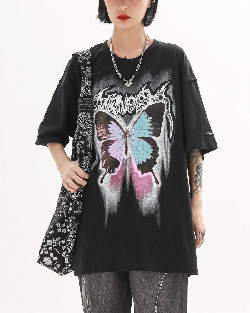《2色》バタフライメタルロゴTシャツの画像2